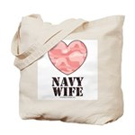 Navy Wife Pink Camo Heart Tote Bag