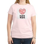 Navy Wife Pink Camo Heart Women's Light T-Shirt