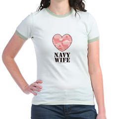 Navy Wife Pink Camo Heart Jr. Ringer T-Shirt