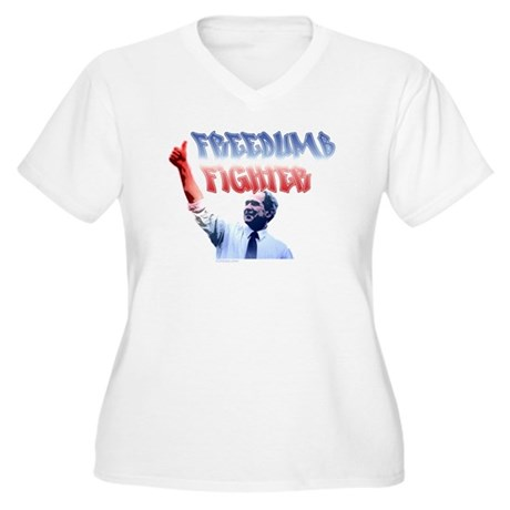 Freedumb Fighter Bush Women's Plus Size V-Neck T-S