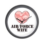 Air Force Wife Camo Heart Wall Clock