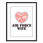 Air Force Wife Camo Heart Large Framed Print