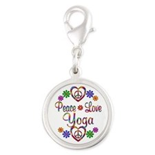 Peace Love Yoga Silver Round Charm