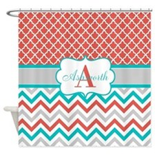 Coral Teal Chevron Quatrefoil Personalized Shower
