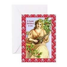 Christmas Lady with Lute Greeting Cards (Pk of 20)