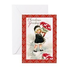 Girl with Poinsettias Greeting Cards (Pk of 20)