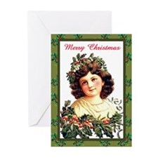 Girl with Holly Greeting Cards (Pk of 20)