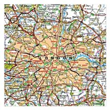 Map of London England Invitations