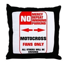 NO PARKING Motocross Sign Throw Pillow