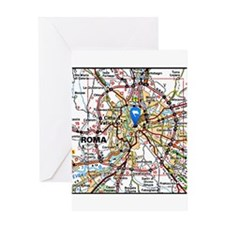 Map of Rome Italy Greeting Cards