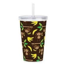 Monkeys Bananas Brown Acrylic Double-wall Tumbler