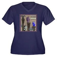 Gargoyles Women's V-Neck Dark Plus Size T-Shirt