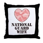 National Guard Wife Camo Heart Throw Pillow