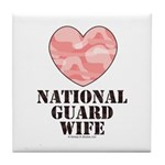 National Guard Wife Camo Heart Tile Coaster