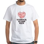 National Guard Wife Camo Heart White T-Shirt