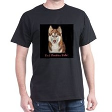 Red Huskies Rule! black t shirt