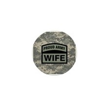 Proud Army Wife Camo Mini Button