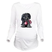 Playful Newfie Pup Long Sleeve Maternity T-Shirt