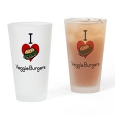 I love-heart veggie burgers Drinking Glass