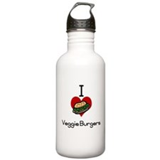 I love-heart veggie burgers Water Bottle