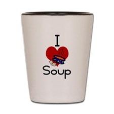 I love-heart soup Shot Glass