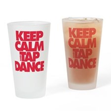 Keep Calm and Tap Dance (red) Drinking Glass