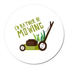 Rather be Mowing Round Car Magnet