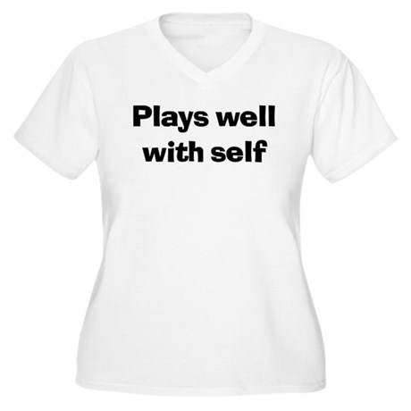 Plays Well With Self Women's Plus Size V-Neck T