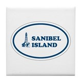 Sanibel Island Light House Tile Coaster