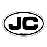 "Jesus Christ ""JC"" Oval Bumper Stickers"