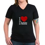 I Love Dante Women's V-Neck Dark T-Shirt