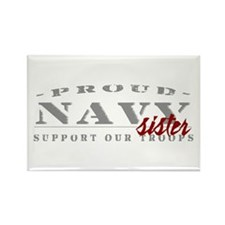 Proud Navy Sister (red) Rectangle Magnet