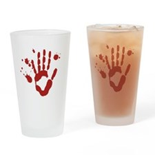 Bloody Hand Print Halloween Drinking Glass