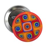Hypnotic Red Original Fractal Button