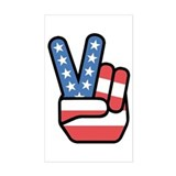 Patriotic Peace Sign Rectangle Decal