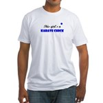 This Girl's A Karate Chick (Clear Sky) Fitted T-Sh