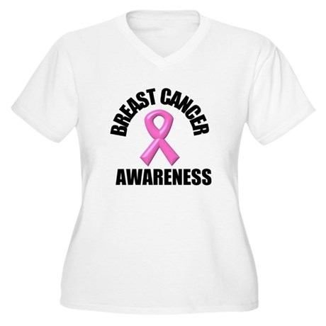 Breast Cancer Awareness Women's Plus Size V-Neck T