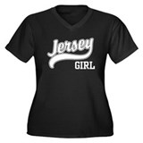 Jersey Girl Women's Plus Size V-Neck Dark T-Shirt