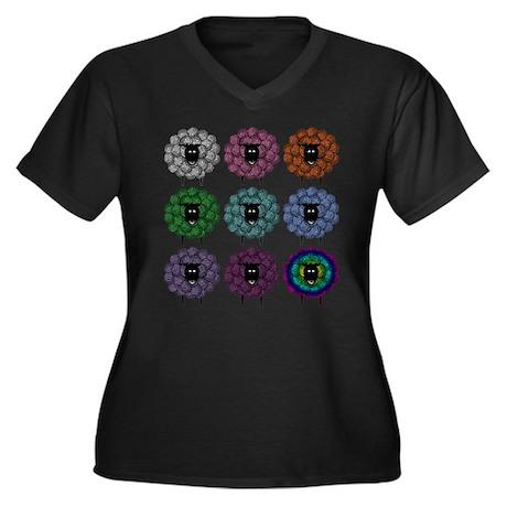 A Rainbow of Sheep Women's Plus Size V-Neck Dark T