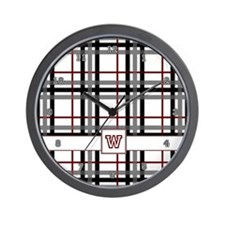 Black White and Red Plaid Wall Clock