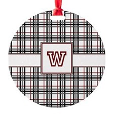 Black White and Red Plaid Ornament