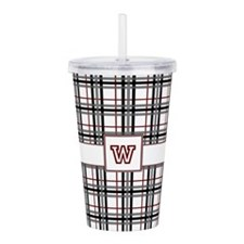 Black White and Red Pl Acrylic Double-wall Tumbler