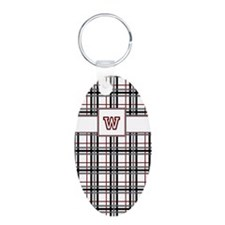 Black White and Red Plaid Keychains
