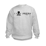 I Love Pirates Kids Sweatshirt