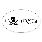 I Love Pirates Oval Sticker