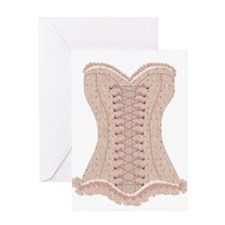 Corset pink Lacy with Bows Greeting Card