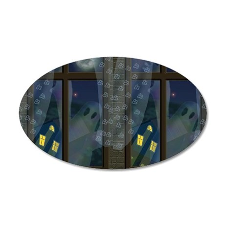 Ghosts in Window Halloween 20x12 Oval Wall Decal