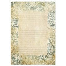 Blue Floral Vintage Lined Page Invitations