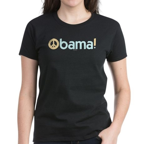 Obama for Peace Womens Black Tee