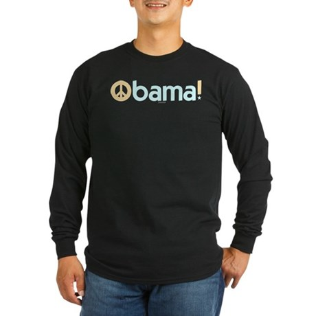 Obama for Peace Long Sleeve Black T